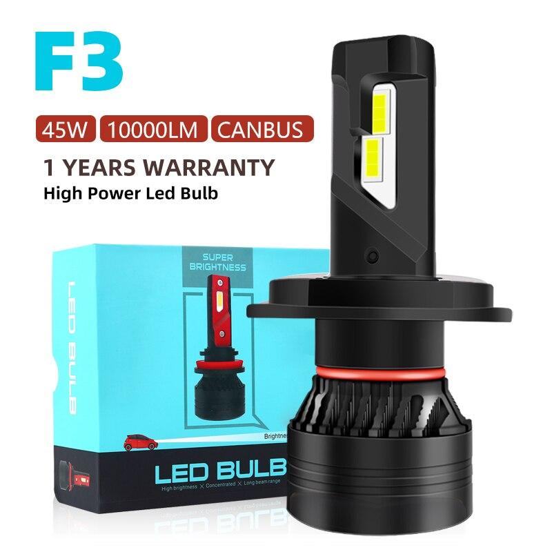 F3 90W H7 Led Canbus 10000LM High Power Headlight H1 H4 H8 H11 9005 9006 Hb3 9004 9007 H13 9012 Led Bulb Turbo Lamp For Car 2PCS